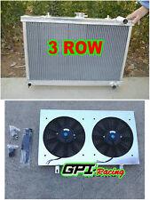 3ROW aluminum RADIATOR & shroud + fan FOR NISSAN SKYLINE S13 CA18 R32 RB20