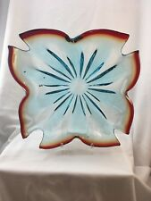 Murano Red And Teal Art Glass Square Shaped Bowl