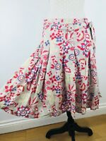 Ladies WHITE STUFF Pretty Pink Floaty Skirt Floral Size 10 Tie Up Cotton Lined