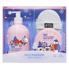BTS BT21 Official Milk Massage Body Care Kit Body Wash+Body Butter+Sponge Track#