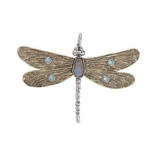 WAXING POETIC Brass & Silver Transformative Dragonfly Labradorite Pendant 2 1/4""