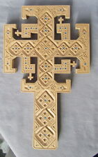"""Wall Cross, Pear Wood Inlaid with Blue Glass Beads, Carved, Large, 10 1/2"""""""