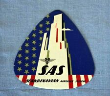 """Scandinavian Airlines System SAS  vintage luggage label """" Skyscrapers NY """""""