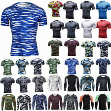Camo Men Compression Gym Thermal Base Layer Workout Tight Fitness T-shirt Tops G