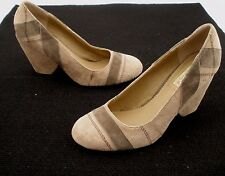 Two Lips Suede Upper Covered Heel Slip- on Pumps Women's Size 8.5