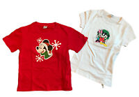 Disney Light Up Battery Operated Christmas Holiday T-shirts Minnie Mickey Youth