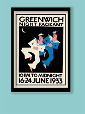 ART DECO poster. London 1933 Greenwich Pageant vintage STAMP A3 (30X40cm) print