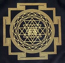 Crystal Grid Cloth SRI YANTRA Maha Meru 12 Inch Black Gold 100% Cotton Gridding