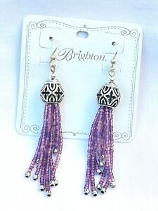 NWT Brighton Boho Mix Silver & Glass Purple Beads Tassel French Wire Earring $58