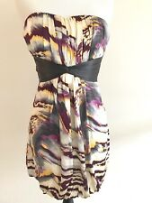 BEBE  Dress 100% Silk Tube XS Empire Waist Pleated Sleeveless Mini Bubble Purple