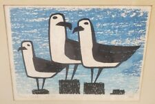 Stell shevis silkscreen 3 seagulls edition of 100 1960s Maine art