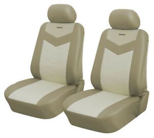 Tan Leather Like 2 Front Auto Car Seat Covers Compatible to Mercury 2577