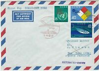 Japan 1966 Airmail First Flight Tokyo-New York Return 3x Stamps Cover ref 22811