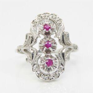 NYJEWEL 14k White Gold Natural Ruby & Diamond Ring Size 8.5