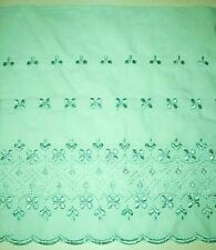 "Poly-Cotton Embroidered Scalloped Lace Fabric 10"" Green BTY #V1"