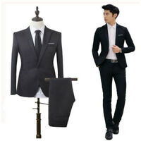 Men's Two Piece Vested Suit Modern Fit One Button Formal Solid Dress Suits Set
