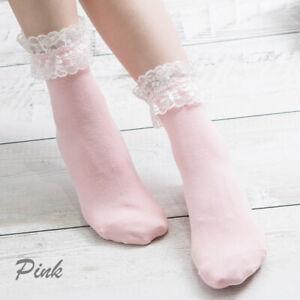 Women Harajuku Sweet Retro Lace Short Socks Frilly Ruffle Princess Socks Top
