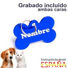 Placa para perros identificativa hueso azul chapa perros MEDIANA 38 x 25 mm