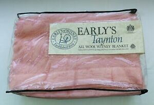 Vintage Early's Taynton All Wool Witney Pink Double Blanket New Old Stock