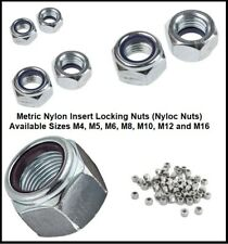 Zinc Plated BZP Nylon Insert Nylock Nyloc Nuts M3,M4,M5,M6,M8 50,100,200 METRIC
