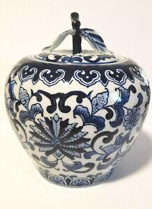 Blue and White Apple Shaped Porcelain Jar