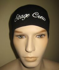 STAGE CREW Black Embroidered Acrylic Knit Beanie Skull Cap Hat Cuffless Theatre