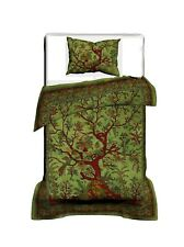 Duvet Cover Twin Size Green Color Tree Of Life Design Handmade Indian Beautiful