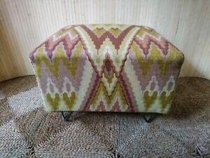 Fab Vintage Retro Oblong Low Footstool Pouffe Seat Stool Woven Zig Zag Hairpin