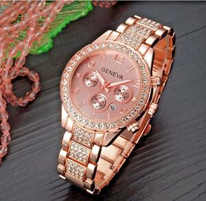 ROSE GOLD Ladies Women Wristwatch Chronograph New Style Crystal Bling Watch UK