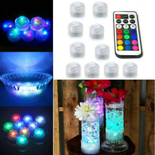 10 RGB Submersible LED Tea Lights Electronic Candle Vase Pool Wedding Underwater