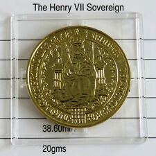 1489 HENRY VII GOLD SOVEREIGN HALLMARKED GOLD ON SILVER PROOF - large coa