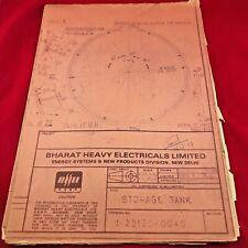 VINTAGE Engineering Drawing India Bharat Heavy Electricals Ltd 1977 Storage Tank