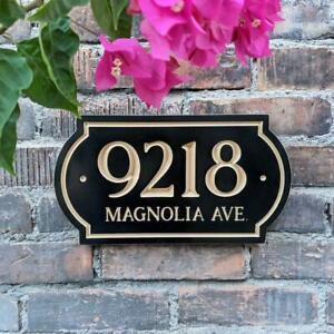 House Numbers Plaque Signage Custom Design Black Wood Address Modern Sign
