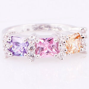 Lady/Women's Silver 14KT White Gold Filled Mix Ruby Wedding Ring Gift size 6-10