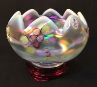 Fenton Hand Painted Frostberries On French Opalescent Carnival Rose Bowl
