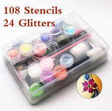 Temporary Glitter Tattoo Kit Princess 108 Stencils 24 Glitters Glue Brushes