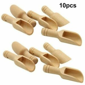 10x Wooden Small Mini Scoop Salt Sugar Coffee Spoon Kitchen Cooking Tool UK As