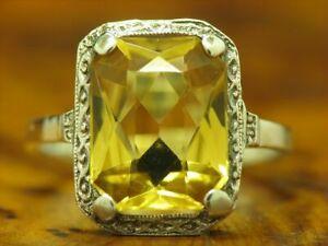 835 Silber Ring mit Citrin Besatz / Echtsilber / 3,0g / RG 51