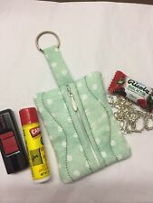 Handmade Mint Polka Dot Fabric Quilted Zipper Key Chain Pouch Coins Change Purse