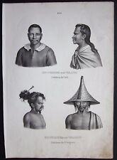 1845 Bewohner Tahiti & Waigiu litografia H.R. Schinz Honegger inhabitants Waigeo