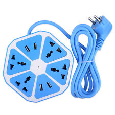 4 USB Ports Hexagon Extension Blue Power Outlet Multi Switch Socket EU Plug 1B2