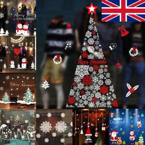 Christmas Window Stickers Xmas Santa Removable Art Decal Wall Home Shop Decor
