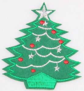 Christmas Tree With Silver Star Iron On Patch- Xmas Embroidered 8x7cm Stocking