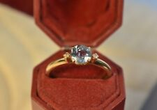 Vintage Estate 14K Yellow Gold Diamond & blue gemstone Ring size 7 3/4