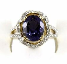 Natural Oval Iolite & Diamond Round Bridge Solitaire Ring 14k Yellow Gold 3.10Ct