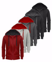 New Plain Mens Sweatshirt Hoodie American Fleece Zip Up Jacket Hooded Casual