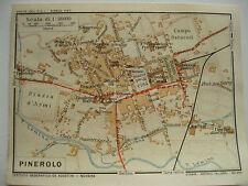 stampa antica MAPPA PIANTA CARTA TOPOGRAFICA CARTOGRAFIA PIEMONTE PINEROLO 1914