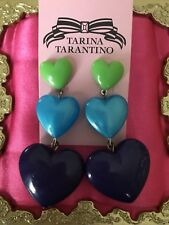Tarina Tarantino Vintage Kaleidoscope Hearts Rainbow Lucite Puffy Heart Earrings