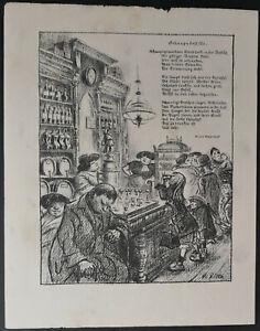 Heinrich Zille Original Lithographie von 1916 schöne & frühe Arbeit
