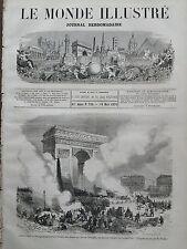 LE MONDE ILLUSTRE 1871 N 726  POPULATION DE PARIS BRULANT LES DERNIERS VESTIGES